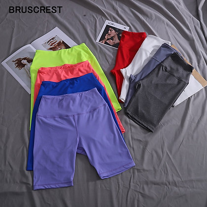 Neon Colours High Waisted Stretch Elastic Biker Shorts at Googoostore