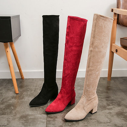Over Knee High Heels Fur Boots
