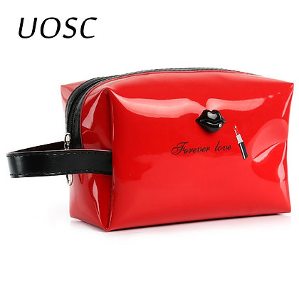 UOSC Travel Portable PU Cosmetic Case Bright Color Cosmetic Bag