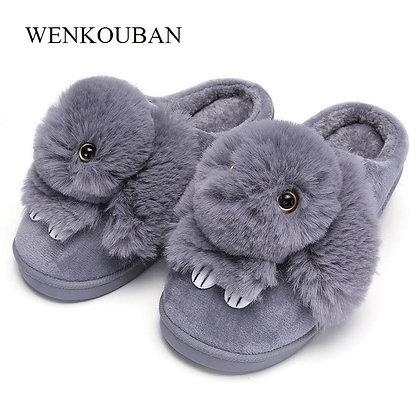 Cute Rabbit Flat Slippers / Warm - Indoor - Fur Slippers