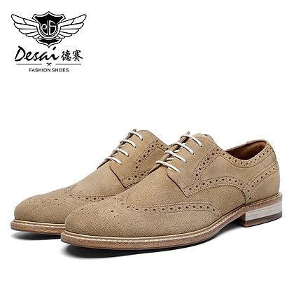 Desai Genuine Derby Men Shoes Cow Suede Leather Autumn Winter Brogue Casual
