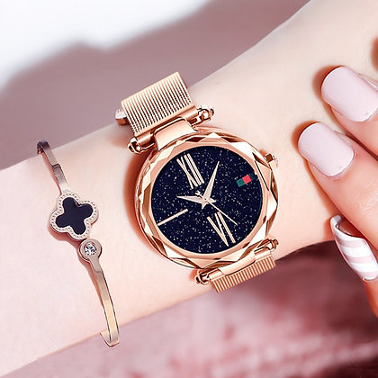 Luxury Rose Gold Minimalism Starry Sky Magnet Buckle Fashion Casual Waterproof