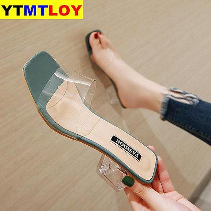 Transparent Square Low Heels  Shoe
