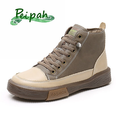 PEIPAH Winter Sport Shoes / Genuine Leather with Plush Rubber Retro Sneakers