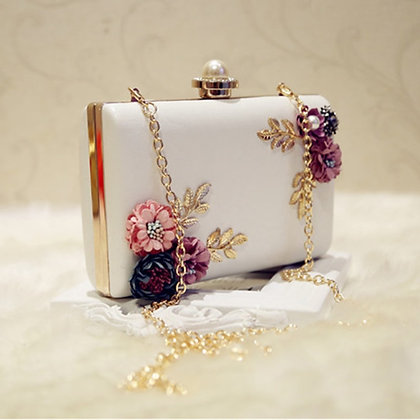 Leather Evening Bag Dinner Party Lady Wedding Flower Clutch Purse(white)