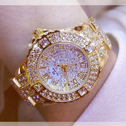 Diamond Gold Ladies Wrist Watch Luxury Brand Rhinestone