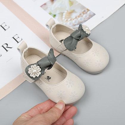 Soft Bottom Bowknot Cute Princess Dress Shoes PU Leather Insole 11.5-13.5 cm