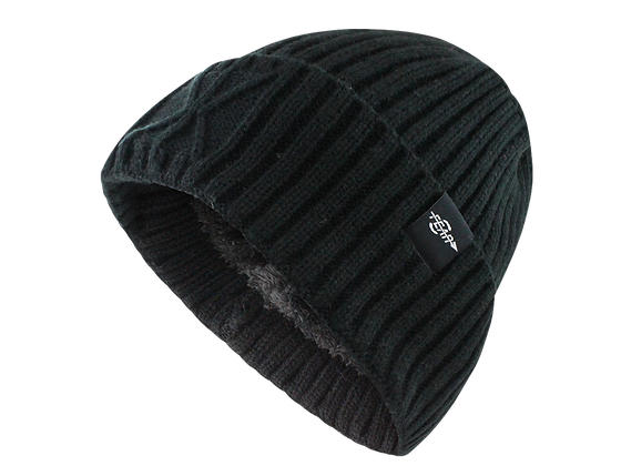 Fear0 NJ Plush Lined Watchcap Fold Ribbed Beanie Hat