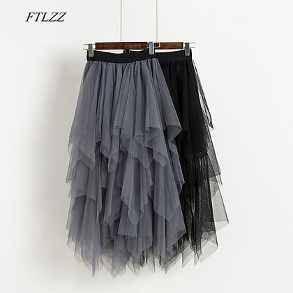 FTLZZ - High Waist Mesh Pleated Mid-Calf Skirts