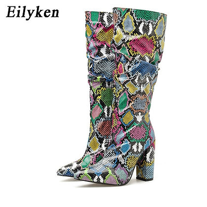 Eilyken 2021 / Colorful Snake Skin High Heels Pointed Toe Pleated Boots