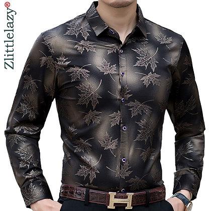 2020 New Social Long Sleeve Maple Leaf Designer Shirts Men Slim Fit Vintage