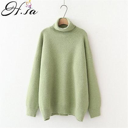 H.SA - Turtleneck Warm Cashmere Jumper - Soft Oversized Knitwear