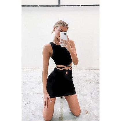 String Mini Skirt Black Solid Tie Waist Bodycon Skirt Black Skirt With Straps