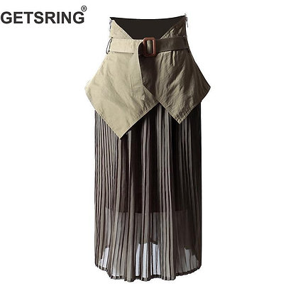 GETSRING - Irregular High Waist Pleated Skirt