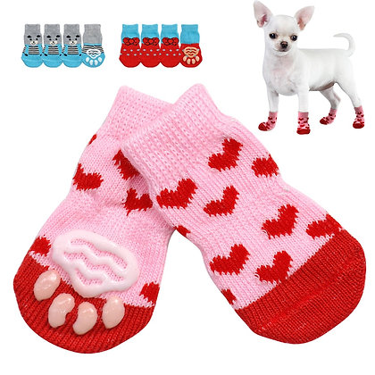 4pcs/Set Cute Knit Socks for Small Dogs / Anti-Slip / Paw Protector