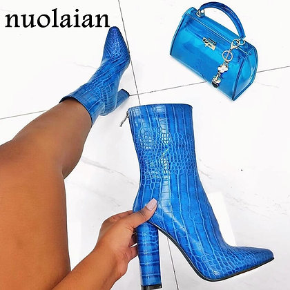 Blue Patent Leather Boots / 10.5 cm High Heel Ankle Boots