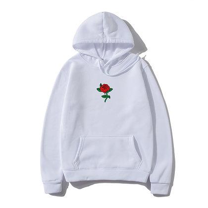 Harajuku Men Streetwear Rose Flower Print Hoodie