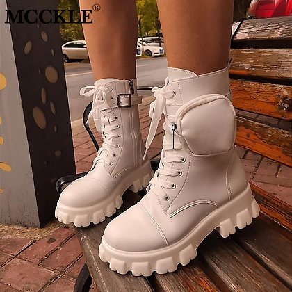 Pocket Lace Up Ankle Boots / Chunky Platform Heel
