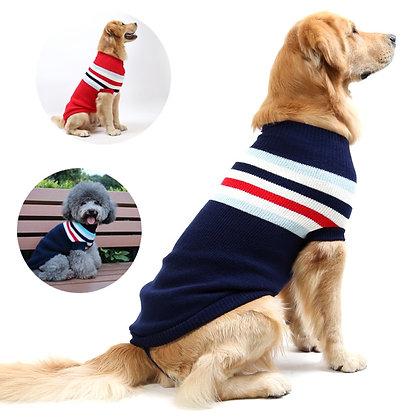 Stripe Big Dog Sweater Winter Warm Pet Clothes