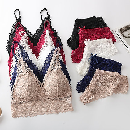 Bra and Panty Set Lace  Seamless Bralette Push Up Underwear Briefs  Wireless
