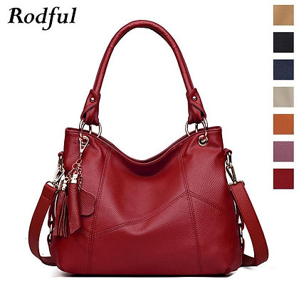 Large Tote Leather Handbags Tassel Big Crossbody Hand Bag