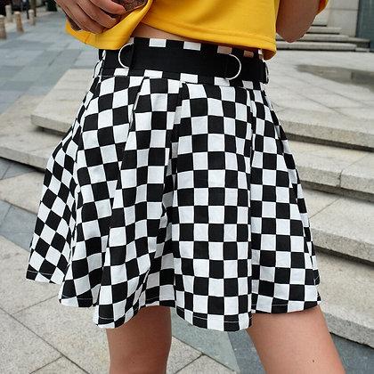 High Waisted Checkered Mini Skirt