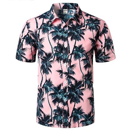 Pink Hawaiian Beach Short Sleeve Shirt Men 2019 Summer Fashion Palm Tree Print