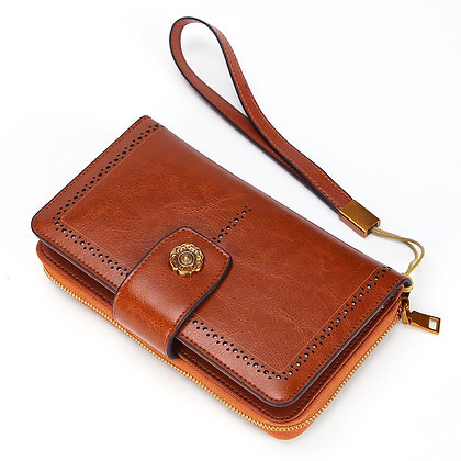 Genuine Leather Long Purse With Phone Case