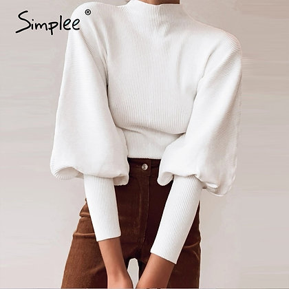 Simplee Knitted Sweater / High Collar Lantern Sleeve Loose Jumper