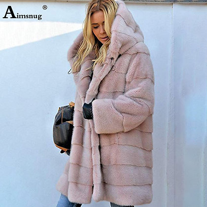 Plus Size 4XL 5XL Europe and America Medium Solid Pink Loose Plush Hooded Coat
