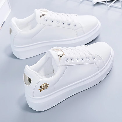 Lace-Up - PU Leather Casual Women's Sneakers