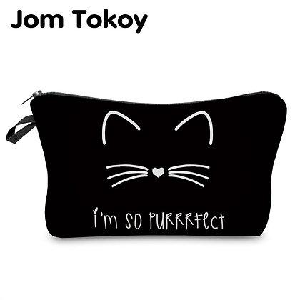 Jom Tokoy  Cosmetic Organizer Bag Pure Black Cute Cat Print