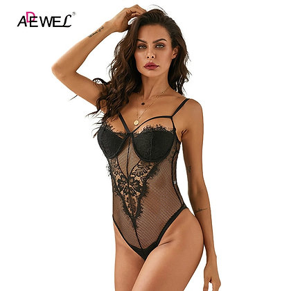 ADEWEL / Sexy Black Lace Lingerie Tops - Hollow Out Jumpsuit at Googoostore