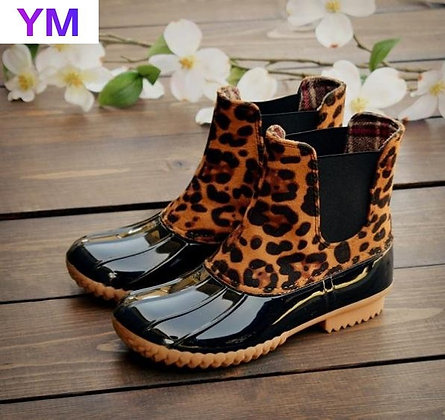 Leopard Waterproof Ankle Boots
