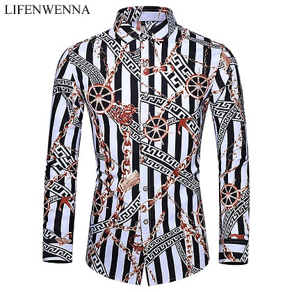 Casuals Shirt Men Autumn New Arrival Personality Printing Long Sleeve Shirts