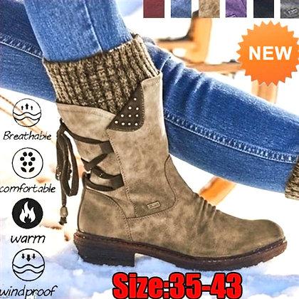 Winter Boots Women Basic Women Mid-Calf Boots Round Toe Zip Platform Decor