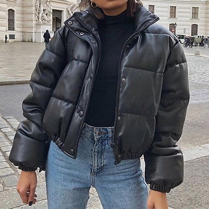 Faux PU Leather Elegant Zipper Tops Puffer Jacket