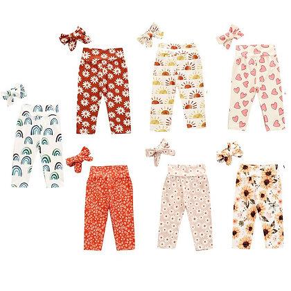 Toddler's Floral Cartoon Print Long Pants & Headband 2Pcs
