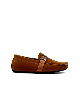 Boy's Soft Textile Buckle Slip on Loafers Tan