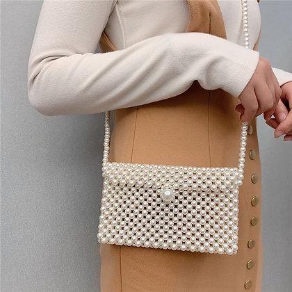 Brand Hand-Woven Pearl Bags Lady Beaded Shoulder Bag Women Party Vintage Handbag