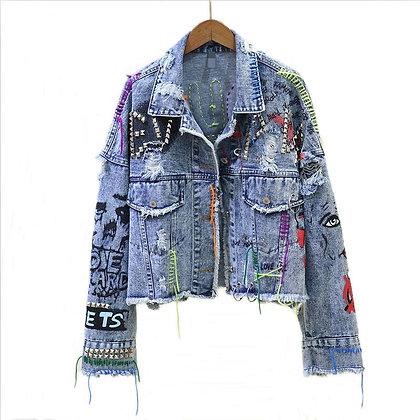 Denim Jacket / Graffiti Rivet Jean - Denim Jackets