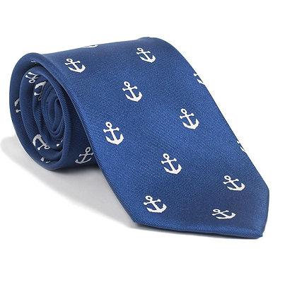 Anchor Necktie - Navy, Printed Silk