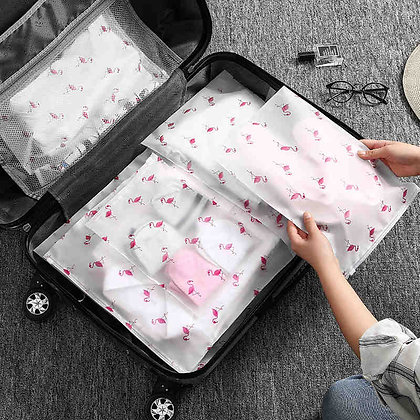 Fashion Transparent Flamingo Cosmetic Bag Travel Zipper Make Up Case Organizer