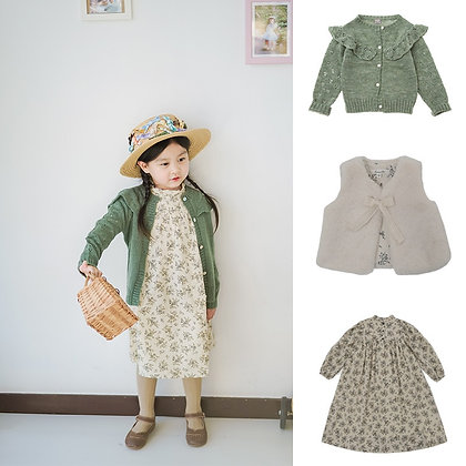 CBC Brand 2021 New Spring Kids Sweater Dress Girls Knit Hollow Out Embroidery