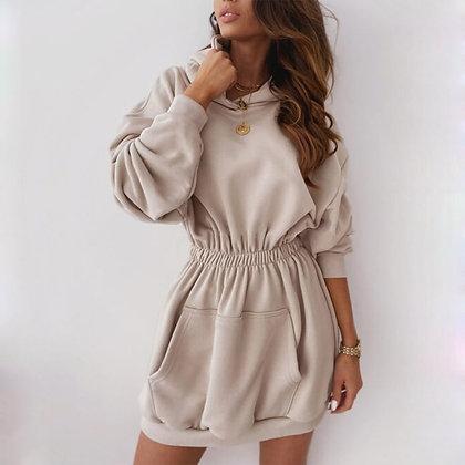 Hooded Dress / Elastic Waist Long Sleeve Jumper