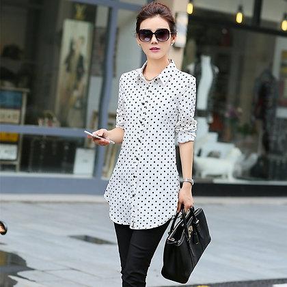 New Fashion Print Blouses Women Long Style Shirts 2021 Long Sleeve Plus Size