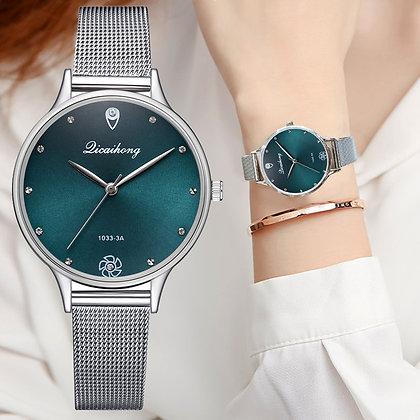 Luxury Green Dial Bracelet Fashion Metal Silver Belt Watch