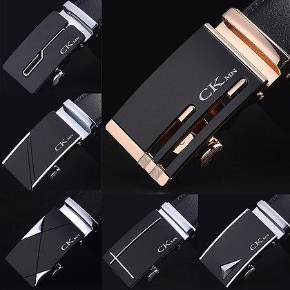 Genuine Leather Trouser Belt Fashion Alloy Luxury Automatic Buckle Black