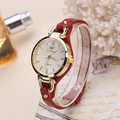 Casual Watches Round Dial Leather Strap Wristwatch