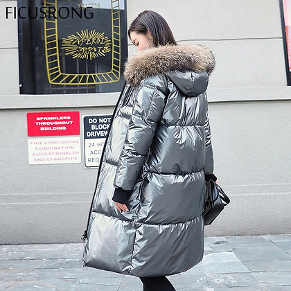 FICUSRONG / Causal Glossy Silver Down Fur Collar Hooded Thick Winter Jacket